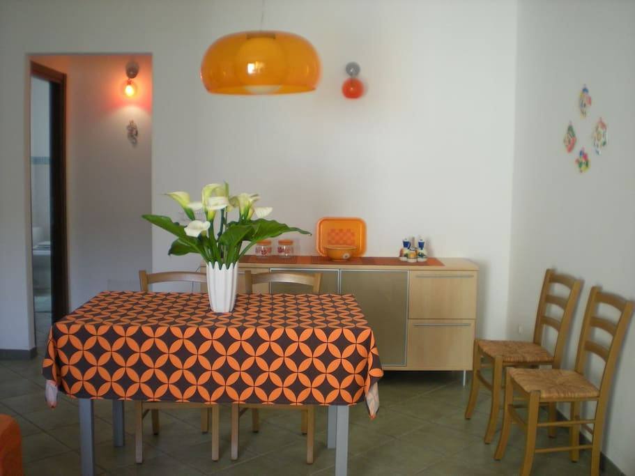 The kitchen with spacious dining area