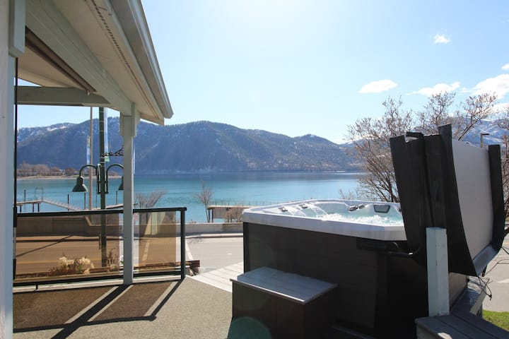 Lakeview home w/ wrap-around deck, easy lake access, private hot tub, and more!