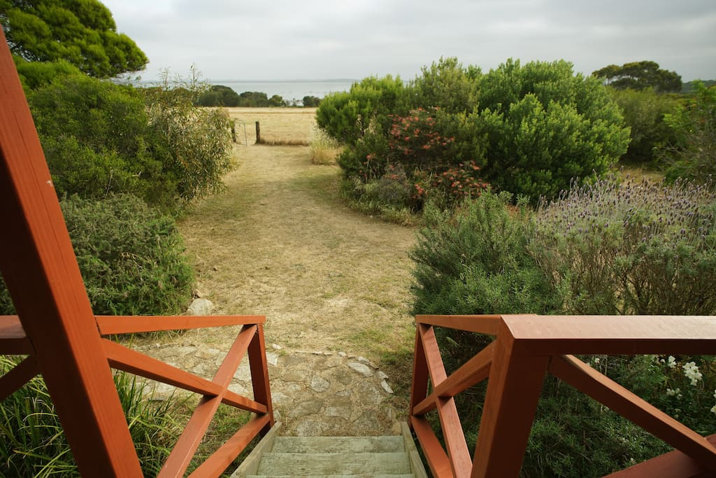 The lagoon and beautiful walking tracks are just down a gentle slope from the garden
