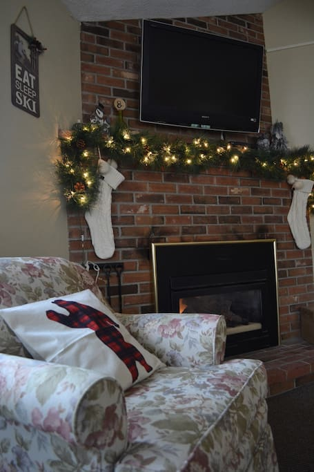 Cozy up by the fireplace #attitash