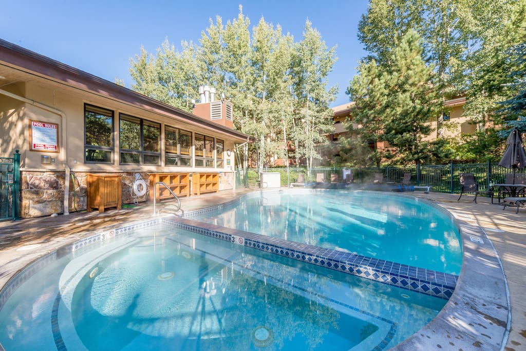 Heated outdoor pool and hot tub.