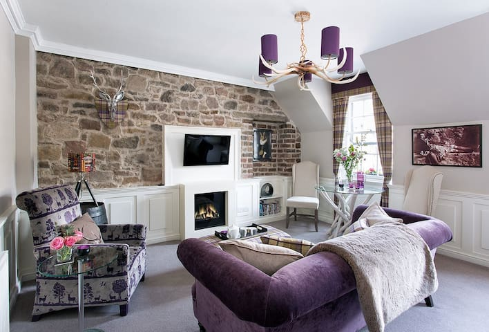 Living Room with LED fireplace