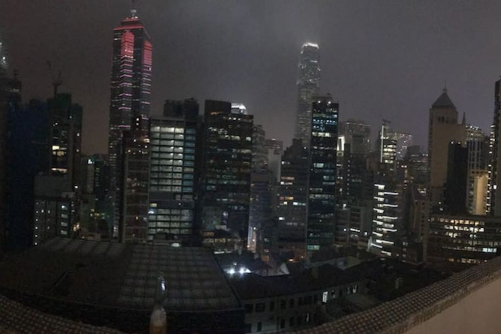 View of Central and IFC from Private Rooftop