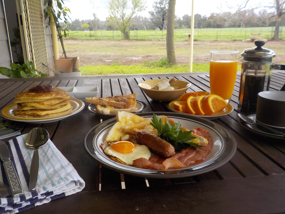 We are often asked 'What's in the breakfast basket?'...well wonder no longer, there's something for everyone (oranges/juice seasonally)