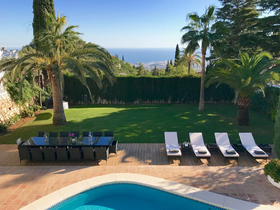 The view takes in the pool, the garden, the shimmering Mediterranean and, on a clear day, the mountains of Africa.