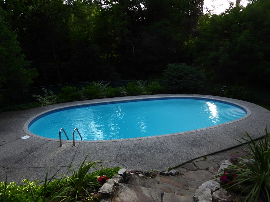 huge in-ground heated pool kept at 85 degrees for our guests.