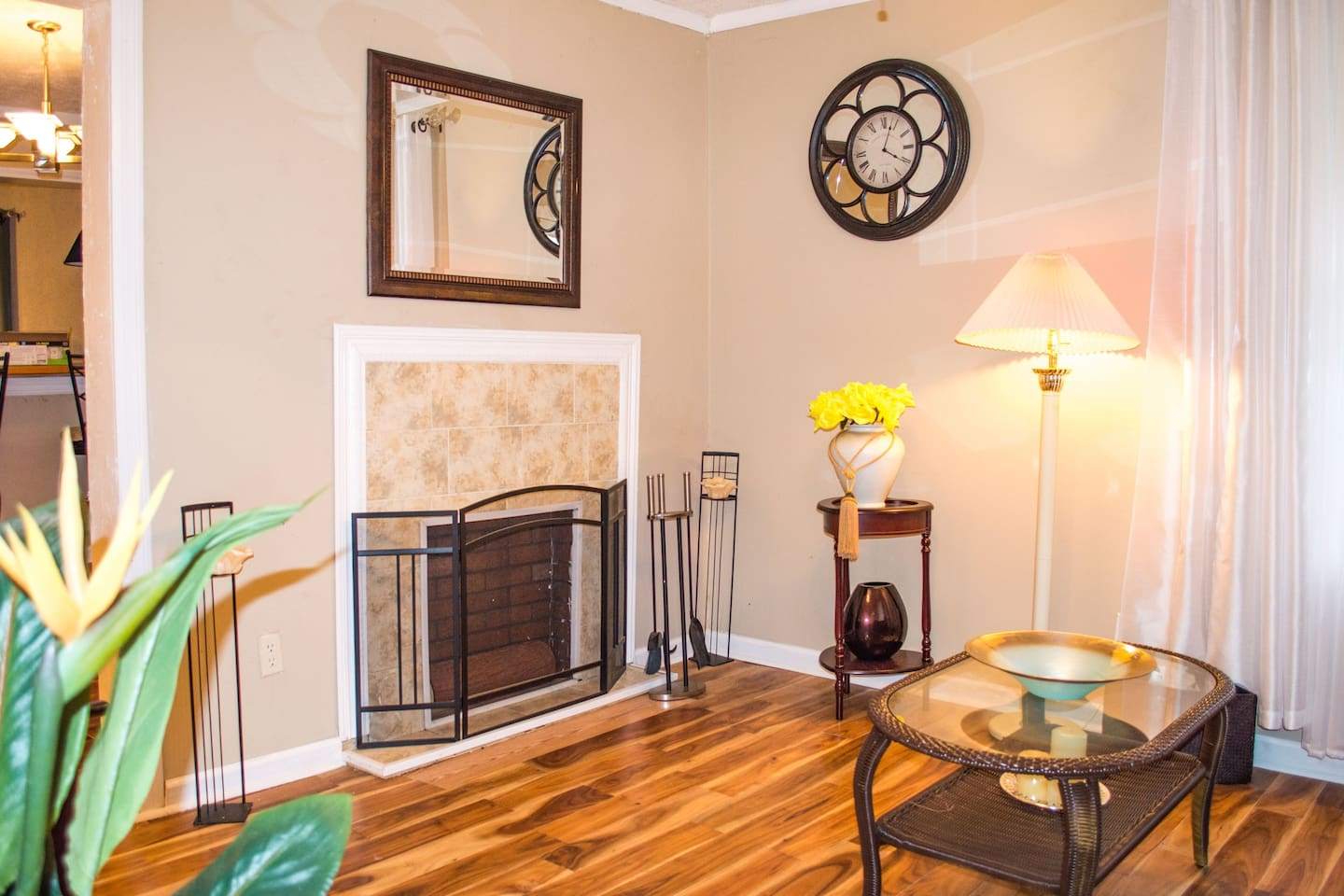 Very spacious Living Room  with fireplace and sofa bed.  House has many decorative features throughout