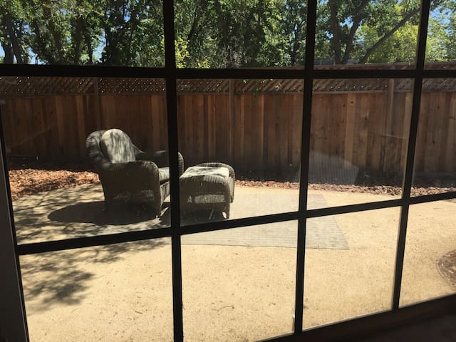 View of backyard from outdoor porch.