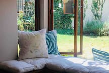 Reading nook and view of garden