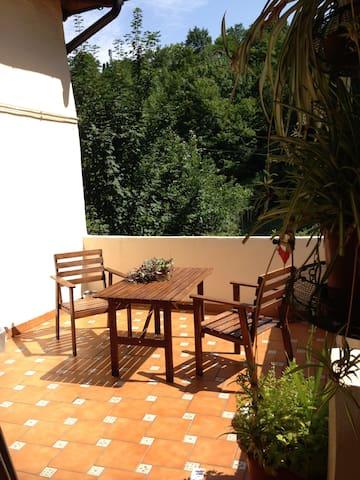 Amplia terraza con zona de sombra.