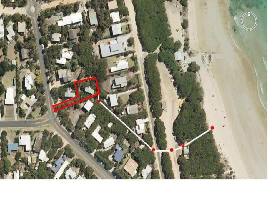 rear access to beach walkway. 100 m to beach