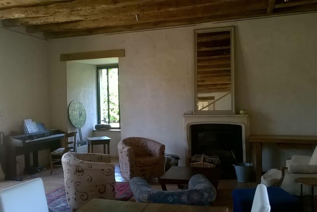 Grand salon et coin cheminée