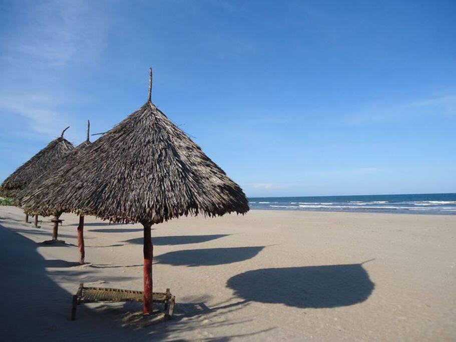 The clear White sandy beach