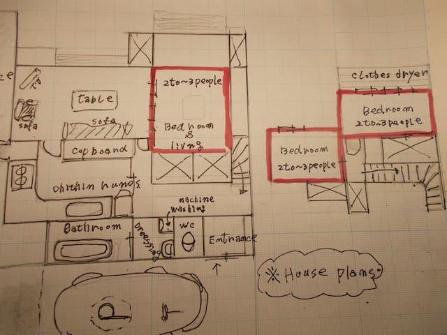 家の見取り図で赤枠は寝室の位置です