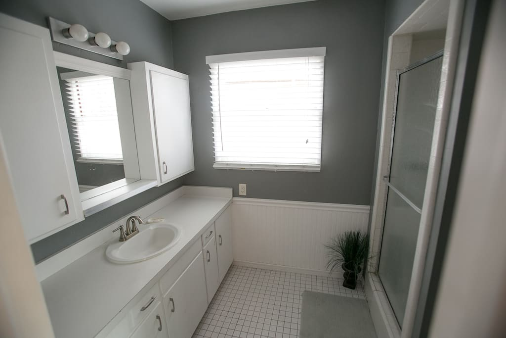 Private Bathroom - shower, sink, lots of cabinet storage