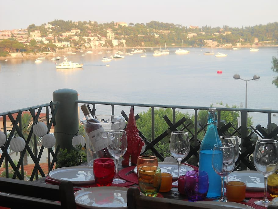 "The balcony has a magnificent sea view of ""Saint Jean Cap Ferrat"" and it is fully equipped for eating out up to 6 persons! :-)"