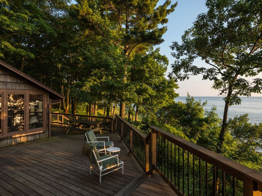 Two-tiered deck overlooking Lake Michigan