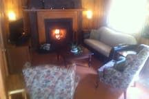 Salon avec foyer et sofa-lit
