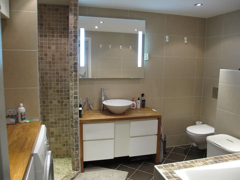 Bathroom with both a shower and tub