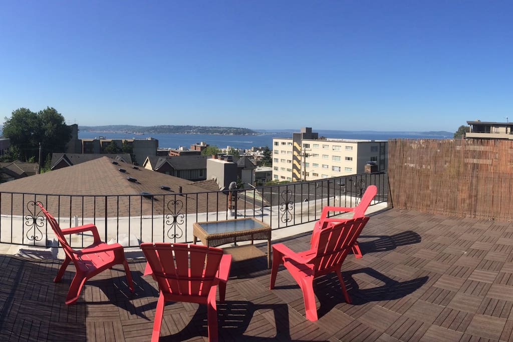Private Rooftop deck with views of the Puget Sound, downtown Seattle, and Mount Rainier