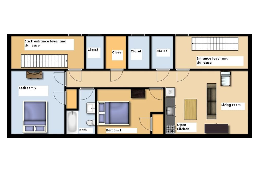 2BD/1BA Floorplan. Front and Rear door access to Front and Rear foyer