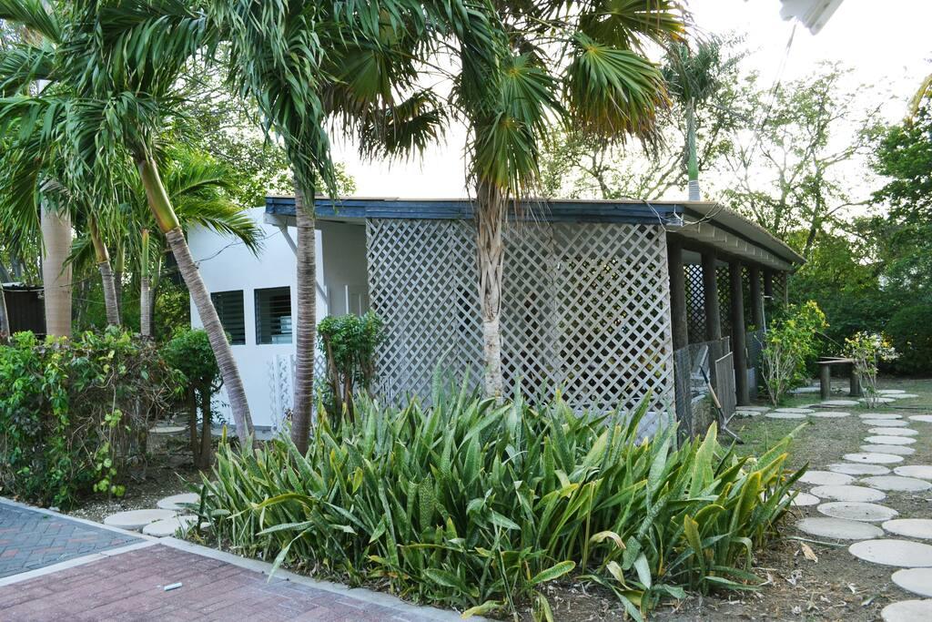 Het deluxe apartement met grote overdekte porch tussen vele palmbomen in de grote tropische tuin.