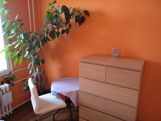 bedroom table, chair, 2 shelves of cabinet available