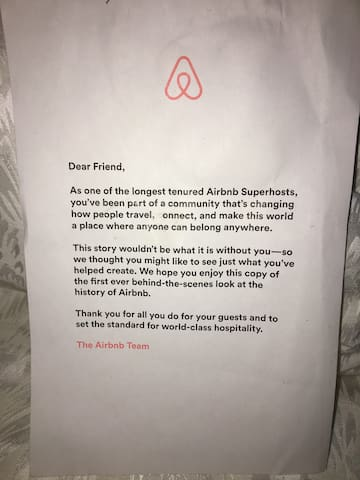 An AirBnB Superhost for more than 5 years, when AirBnB published its book and starting distributing a magazine, the publications were sent to us first.