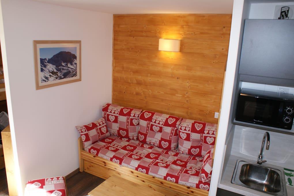 canapé-lit gigogne (2 couchages)