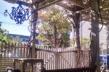 Arbor swing in the shade