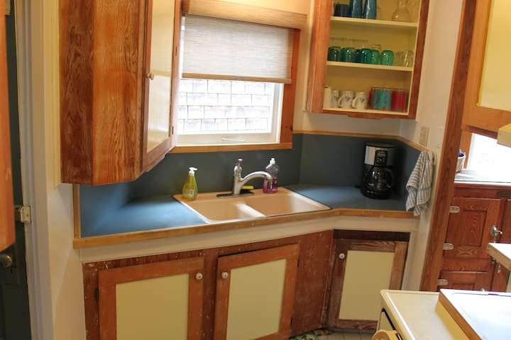 Full kitchen with microwave and coffeemaker!