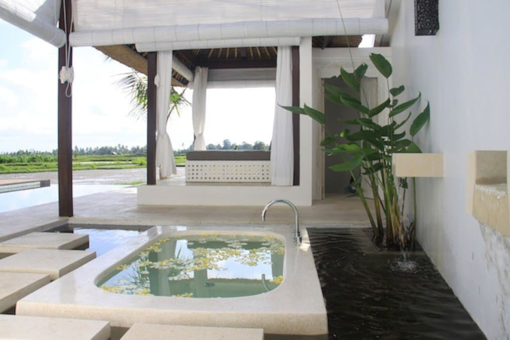 Outdoor bathtub surrounded by a fishpond next to the daybed
