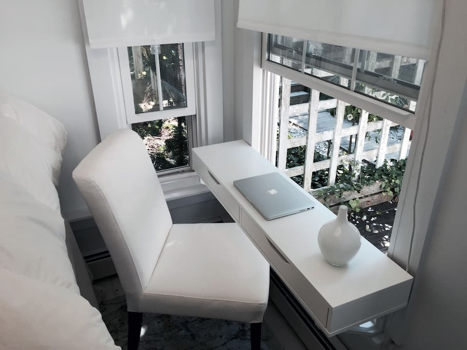 Desk with a view of the garden
