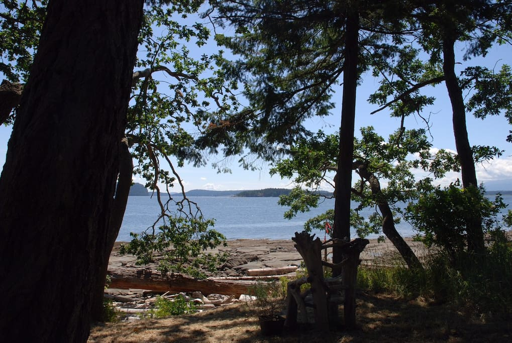 Direct private access to the beach. Sandstone bedrock line the shoreline of Protection Island and heat up nicely in the summer heat. Perfect for some suntanning or reading a book.