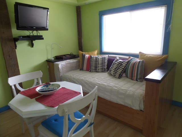 Studio with twin bed that doubles as sofa/tv viewing area