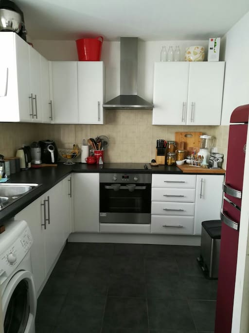 The modern kitchen has everything you will need including a fridge freezer, washing machine and electric oven.