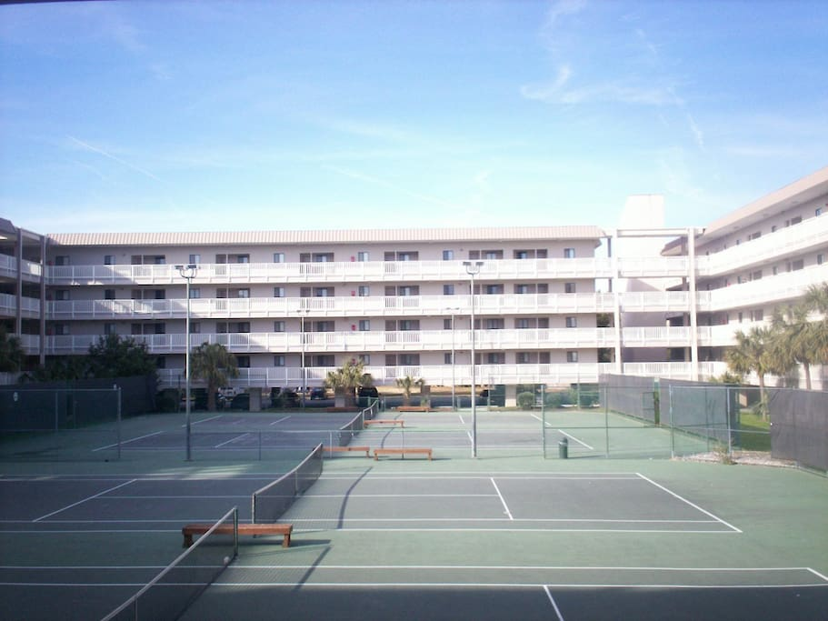View from Balcony - 4 lighted tennis courts