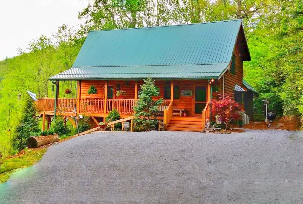 Parking area in front of cabin