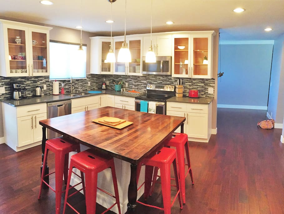 Open, modern kitchen with all of the amenities that you'll need