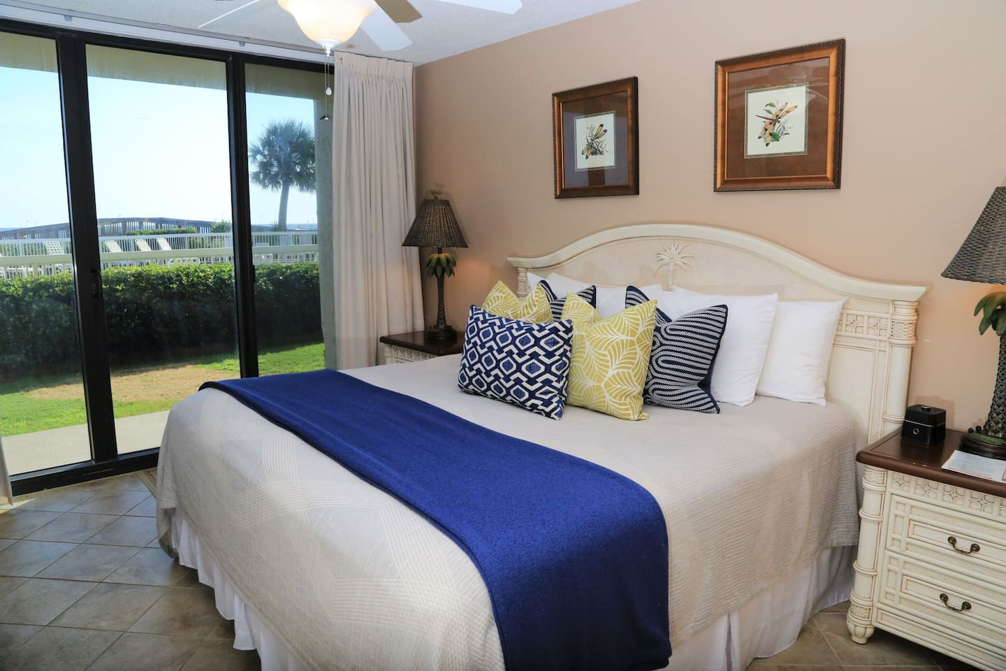 King-sized bed with direct access to ground floor patio!