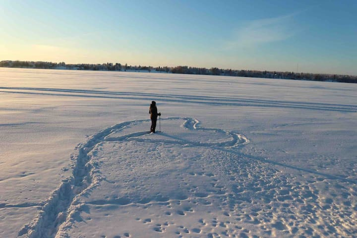 Try skiing or snow shoeing at the river ice during the winter. Borrow the snow shoes from the house.