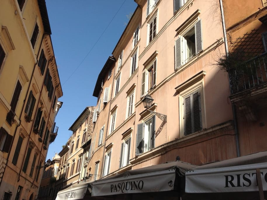 The sunny building that you see once you arrive in Piazza Pasquino