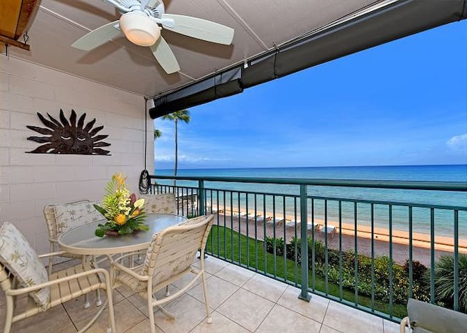 Unit 204 Private lanai with an amazing view.