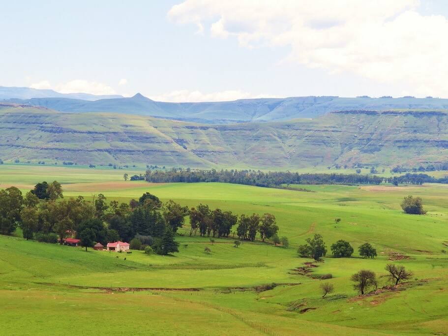View of Fairbairn Farm from slopes of Fairbairn Kop (mountain)
