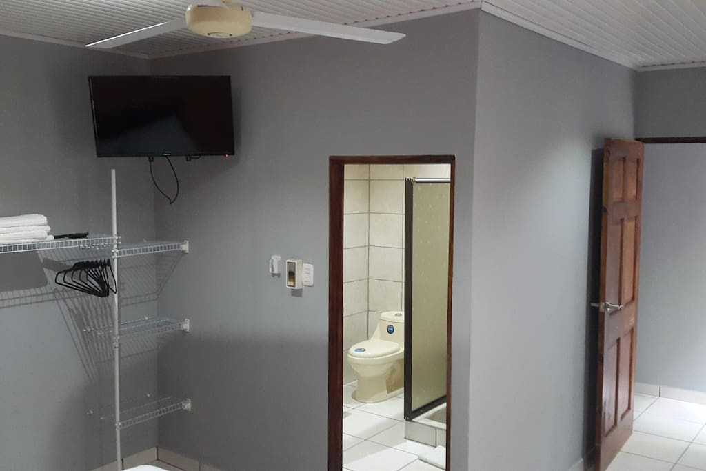 Amenities such as a flat-screen TV, closet with hangers and new bathroom will help you feel at home with us.