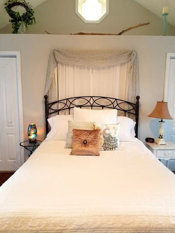 Master bedroom with queen size bed and 2 closets
