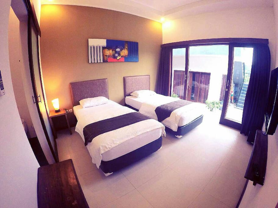 Twin Rooms available with aircon, hot shower & full cable tv