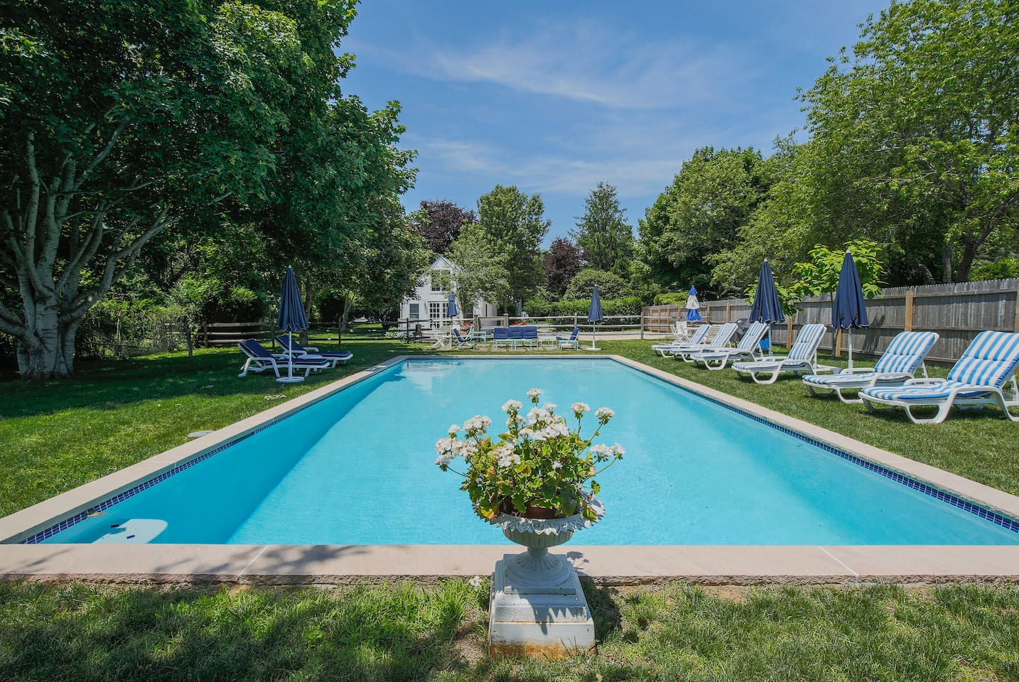 20 x 40 beautiful,private heated pool and pool house view