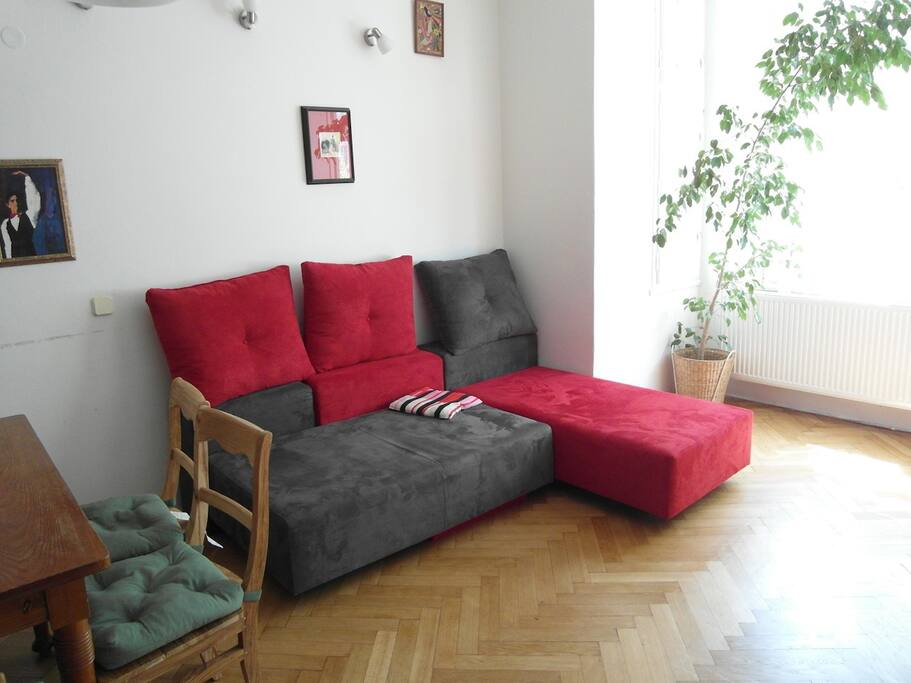 living room and brand new 2 sofa/bed