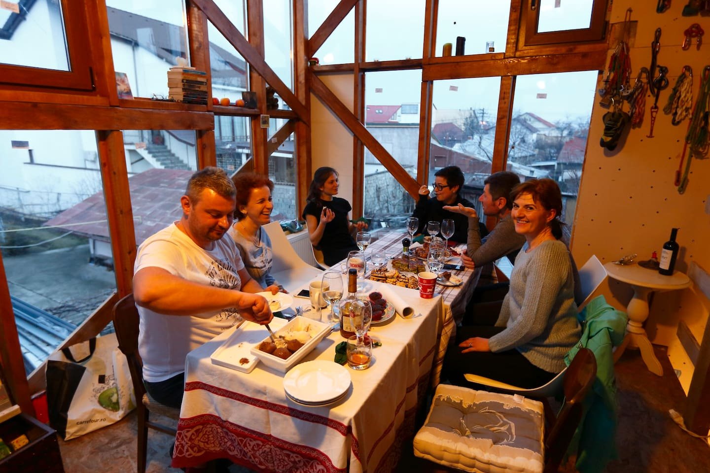 Quality time with friends and family, our house is a friendly one! Join us for a glass of wine and a good chat!  This is happening in the upper part of the climbing gym, witch is in the same yard, just a few meters away from the guest house.